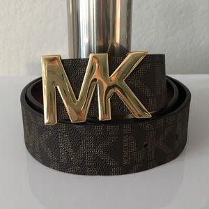 Michael Kors Brown Logo Belt With MK Gold Buckle